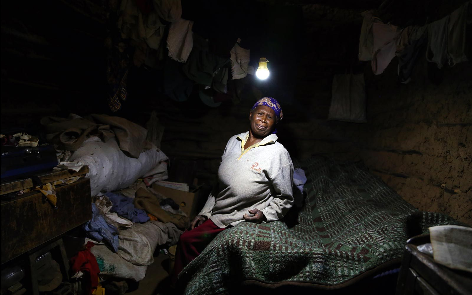 Milka Wambui illuminated by the solar light
