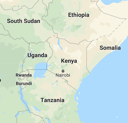 Kenya and surrounds map curtesy Google